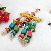 High Qualty Cheap New Parrot Pet Bird Macaw Hanging Chew Toy Bells Wood Blocks Swing Colorful