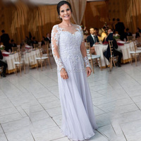 YNQNFS MD72 Elegant Party Dress Sheer Neck Long Sleeves Sleeves Silver Grey Mother of the Bride/Groom Dresses Formal Gowns Real