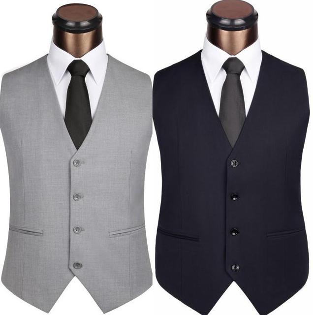 2016 New Men's Clothing Slim Colete Masculino Cotton Double Breasted Sleeveless Jacket Waistcoat Men Suit Vest