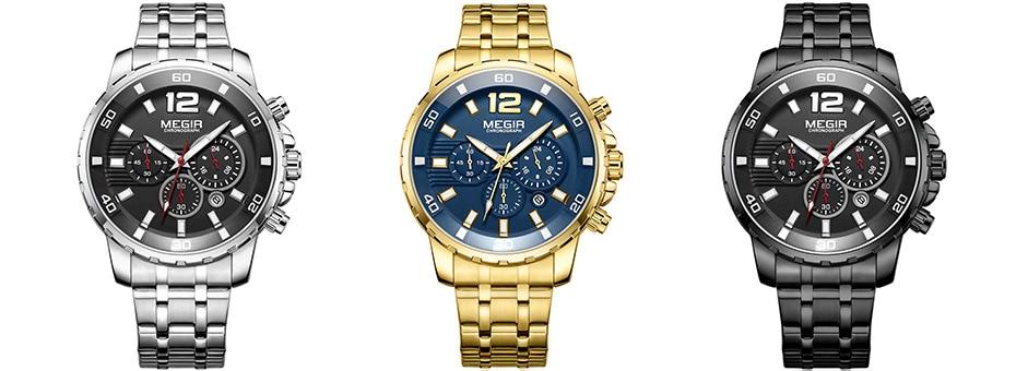 HTB13JDSdv5TBuNjSspcq6znGFXar Megir Men's Gold Stainless Steel Quartz Watches Business Chronograph Analgue Wristwatch for Man Waterproof Luminous 2068GGD-2N3