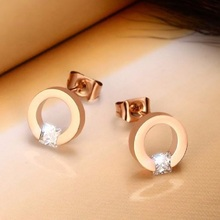 New Hot Luxury AAA Cubic Zircon Rose Gold Color Stud Earrings for Women Fashion Romantic Girl Jewelry Ladies Round Earrings hot sale rose gold color multicolor aaa cubic zircon brilliant stud earrings for women elegant wedding ear