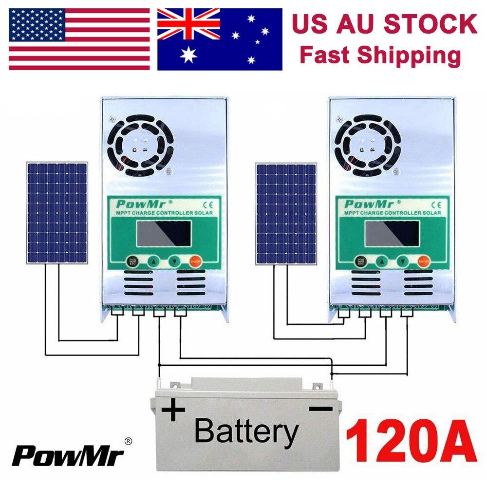 Contrôleurs de Charge solaire PowMr 120A 100A 60A MPPT 12V 24V 36V 48V Auto 190V PV LCD affichage régulateurs de batterie au Lithium acide de plomb