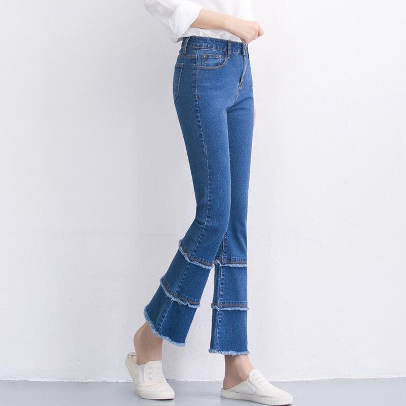 Womens Jeans High Waist Boot Cut Fashion Denim Pants Elastic Trouser Black Blue Sexy -4429