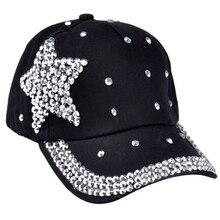 Детская Регулируемая модная джинсовая кепка с блестящими бриллиантами, пятиконечная кепка со звездами, Кепка От Солнца, бейсбольная кепка со стразами