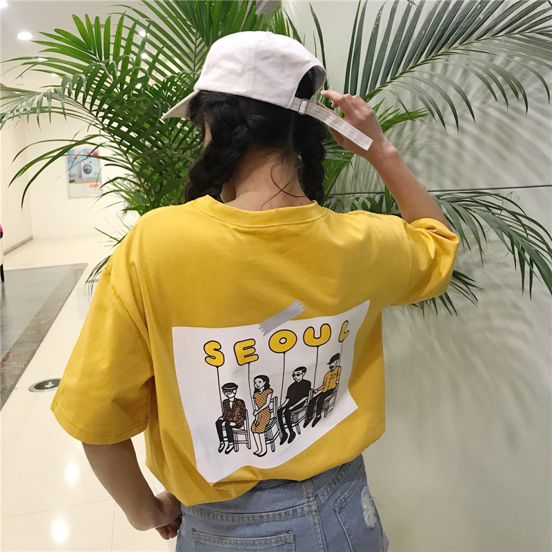 2018 Summer Kpop Harajuku Summer T shirt Cotton Short Sleeve Pocket Seoul Printing On The Back Top BF Style Ulzzang Girls Tee