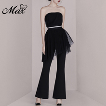 Max Spri  2019 New 2 Pieces Sets Sexy Strapless Mesh Tops With Long Flare Leg Pants Suit Party Dress Lady Fashion