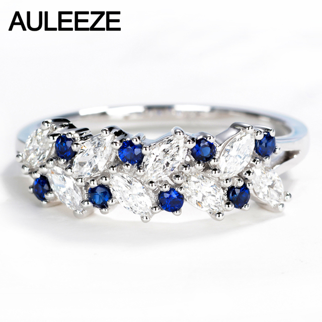 rings band cut diamond white round real anniversary sapphire bands natural solid ring gold item gemstone auleeze