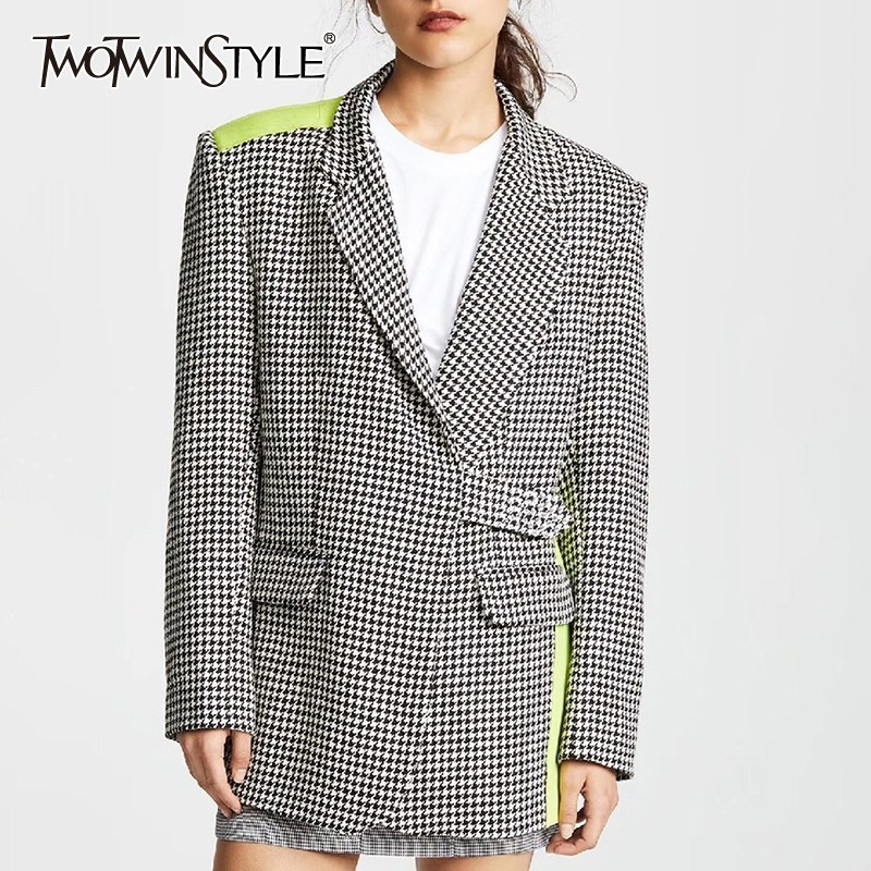 TWOTWINSTYLE Elegant Plaid Hit Color Women Blazer Lapel Long Sleeve Button Slim Coat Tops Female Fashion 2019 Summer New