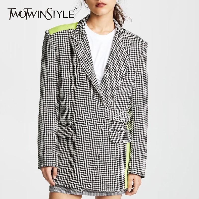 TWOTWINSTYLE Elegant Plaid Hit Color Women Blazer Lapel Long Sleeve Button Slim Coat Tops Female Fashion 2020 Summer New
