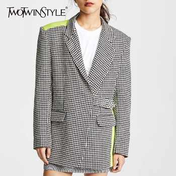 TWOTWINSTYLE Elegant Plaid Hit Color Women Blazer Lapel Long Sleeve Button Slim Coat Tops Female Fashion 2019 Summer New - DISCOUNT ITEM  39% OFF All Category