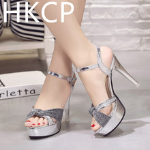 HKCP The new 2019 summer high heel slender-heel platform style fish-toe pump sexy one-button open-toe sandals C079
