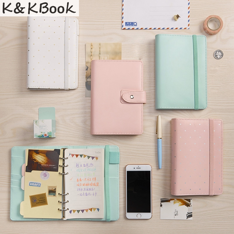 K&KBOOK KK010 Macaron Spiral Notebook A5 A6 PU Leather Notebook Dairy Agenda Planner Dairy Joural Travelers Notebook Papelaria