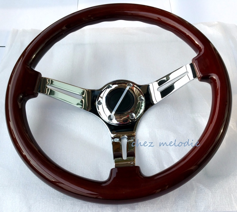 Handmade Universal 14'' 35cm vintage classic wood wooden bus racing car steering wheel with horn button, mirror chromed spoke new 320mm yellow pvc sport spoke car racing steering wheel carbon firbre horn button ep fxp06om p