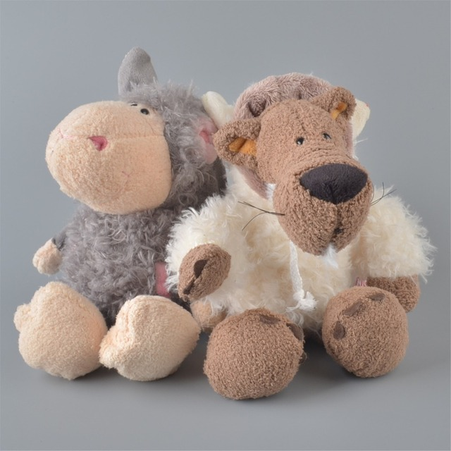 2pcs Brand New 25cm Gray Color Sheeps And White Wolf Stuffed Plush