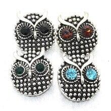 4 вида цветов женские часы браслет и браслет Сова Металл 18 мм кнопки изделия Ретро Кристалл браслет для мужчин 010814
