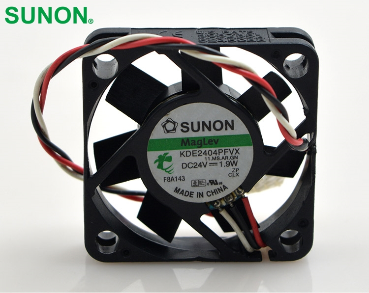 Sunon  Original KDE2404PFVX Double Ball Bearing Cooling Axial Fan DC 24V 1.9W 4010 40*40*10mm  free shipping ffb1324vhe b inverter double ball bearing cooling fan ffb1324vhe dc 24v 14 4w 0 9a 3050rpm 12738 127 127 38mm 12cm