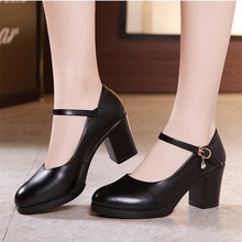 ladies shoes with heelplatform pumps Autumn Vintage Womens Chunky Block High Heel Platform Ankle Strap Buckle Pumps Punk Shoe spring autumn shoes woman pumps platform shoe womens casual tassel shoes 2018 new punk black footwear high heel shoe