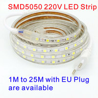 Waterproof SMD5050 Led Tape Light AC 220V SMD 5050 Flexible Led Strip 60 Leds Meter 220