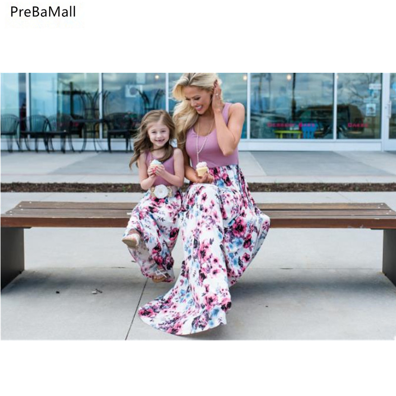 Summer Mother Daughter Dresses 2019 New Fashion Parent child Sleeveless Flower Print Dresses Mother And Daughter Clothes D31 in Matching Family Outfits from Mother Kids