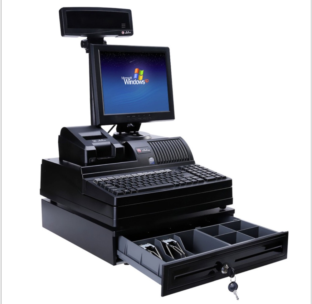 Pos System Supermarket 12 Inch Dual Screen Display Touch Computer Double Screen All In One Pos System Restaurant Cash Register