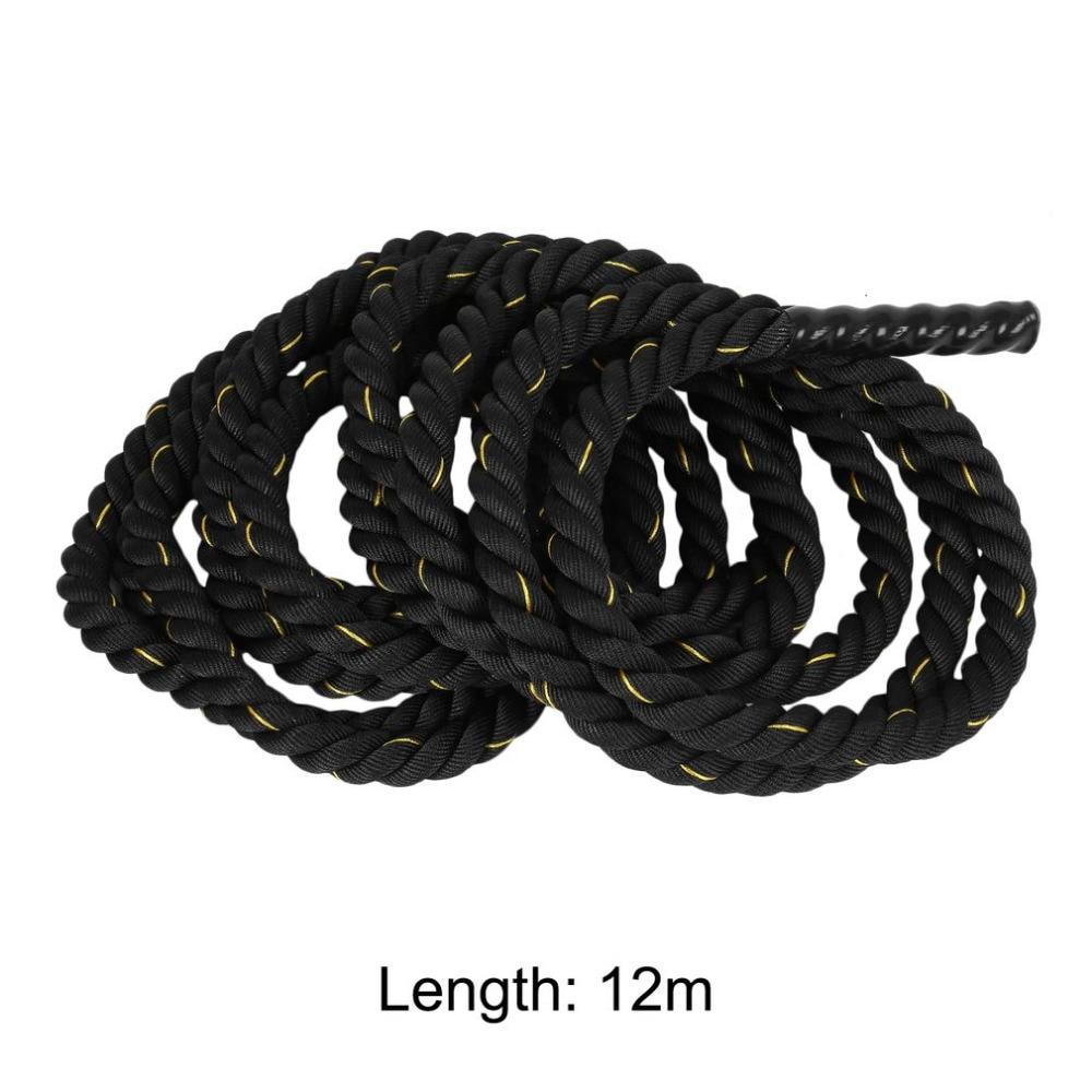 Musculation 38mm 12 m/15 m Poly Dacron bataille corde exercice entraînement force Cardio entraînement ondulation Fitness corde noir - 4