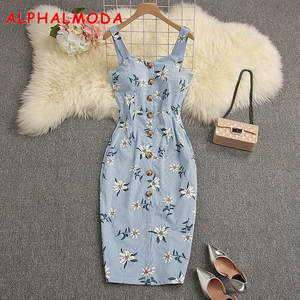 ALPHALMODA 2019 Summer Women Slit Ladies Casual Dress