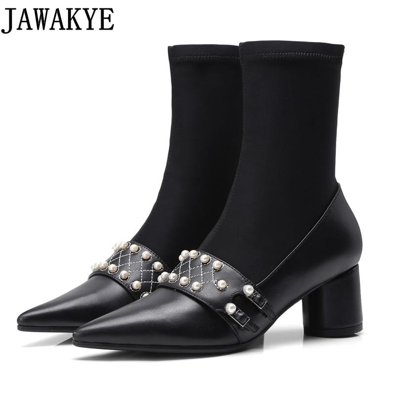 Здесь продается  Genuine leather high heels Stretch Fabric Women Botas pearled Ankle Boots runway design Sock Shoes 2018 autumn Pumps for ladies  Обувь