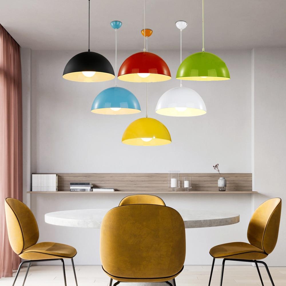 Modern art deco coloerful pendant lights iron minimalist painted light E27 LED 220V pyramid lamp for bedroom kitchen study hotel