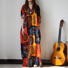 Loose Baggy Long Maxi Dress Women Long Sleeve Print African Dresses Kaftan Beach Party Dresses Plus Size Women Clothing DW511(China)