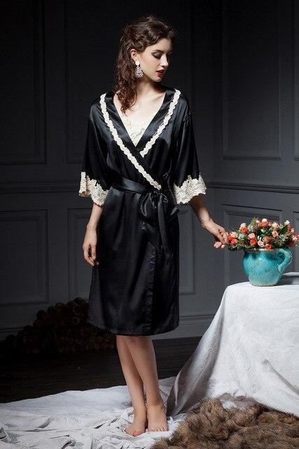 2017 New arrival outono inverno exclusivo personalizado top quality silk robes de seda com rendas moda sexy para as mulheres
