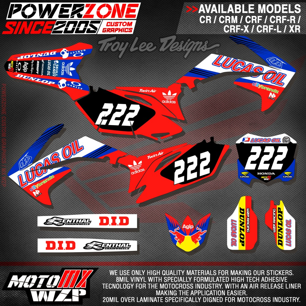 CRF XR CRM 125 250 450 650 Team Graphics Backgrounds Decals Stickers TA Motorcross Motorcylce Dirt Bike MX Racing Parts