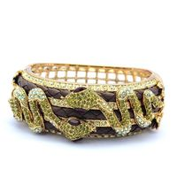 Real Austrian Crystal Animal Double Snake Bracelet Bangle Cuff With Leather For Women Jewelry SKSA1286 ON