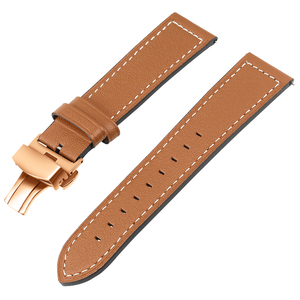 Image 2 - Genuine Leather Watchband for Samsung Galaxy Watch 42mm 46mm/ Active/ Active2 40mm 44mm Quick Release Band Butterfly Clasp Strap
