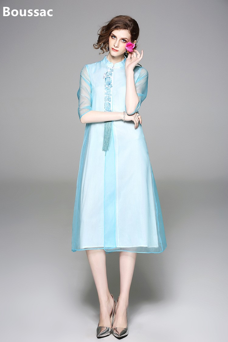 827b558a24 orange Cheongsam Robe D'été Chinois Originale Livraison Grande Femmes  Organza Taille Conception blue Thé Brodée ...