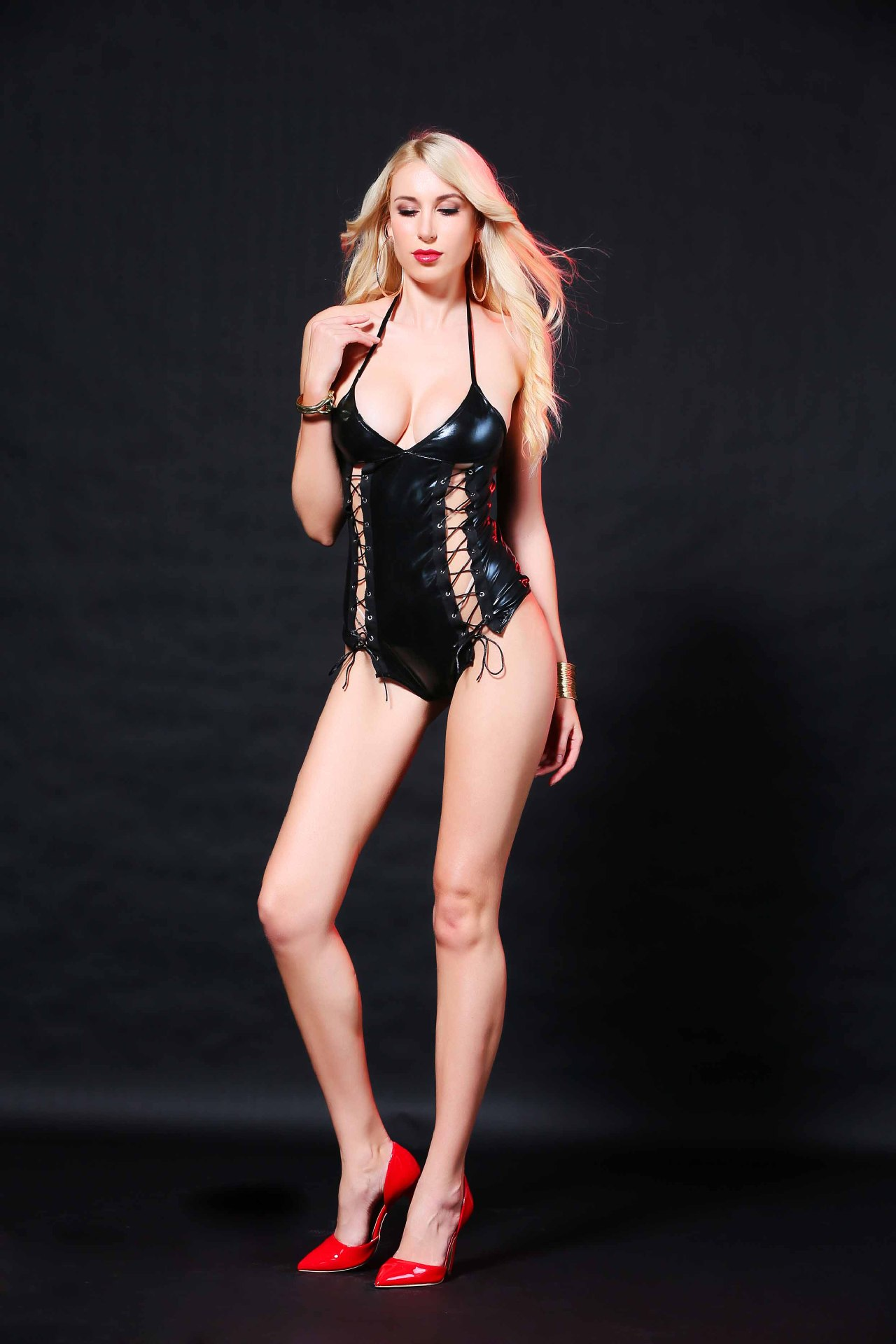 MILLYN black patent leather skinny body locomotive leotard sexy lingerie M XL Erotic bandage faux leather lingerie in Babydolls Chemises from Novelty Special Use