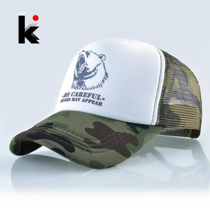 Snapback Hat Baseball-Cap Mesh Trucker Camouflage-Bone Women for Summer Breathable Outdoor
