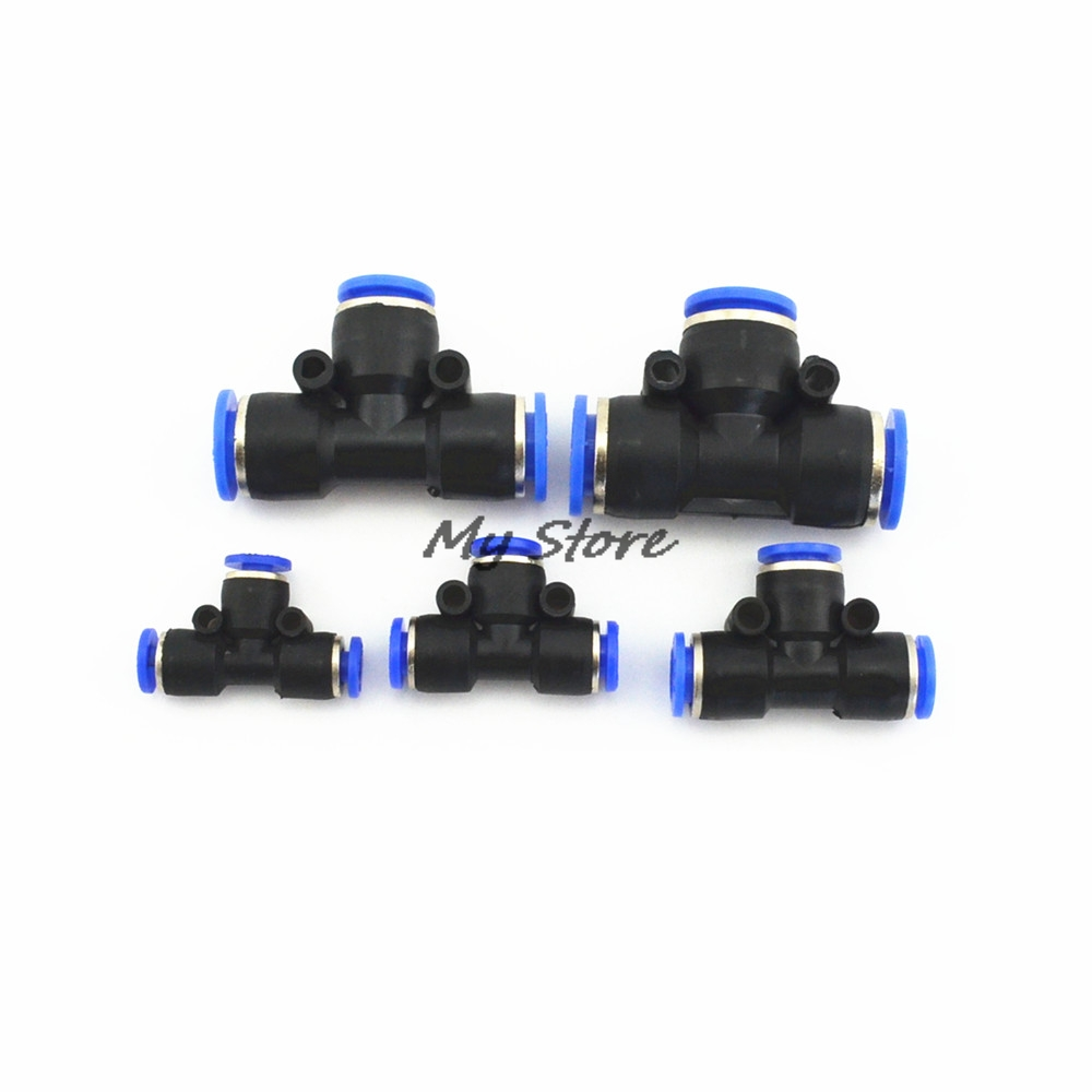 PE4 6 8 10 12MM Pneumatic (5/32'' 1/4'' 5/16'' 3/8'' 1/2'') Push In Tee 3-Way Fitting Plastic Pipe Connector Quick Fitting 10pcs t type pneumatic connector tee union push in fitting for air pipe joint 4mm 12mm