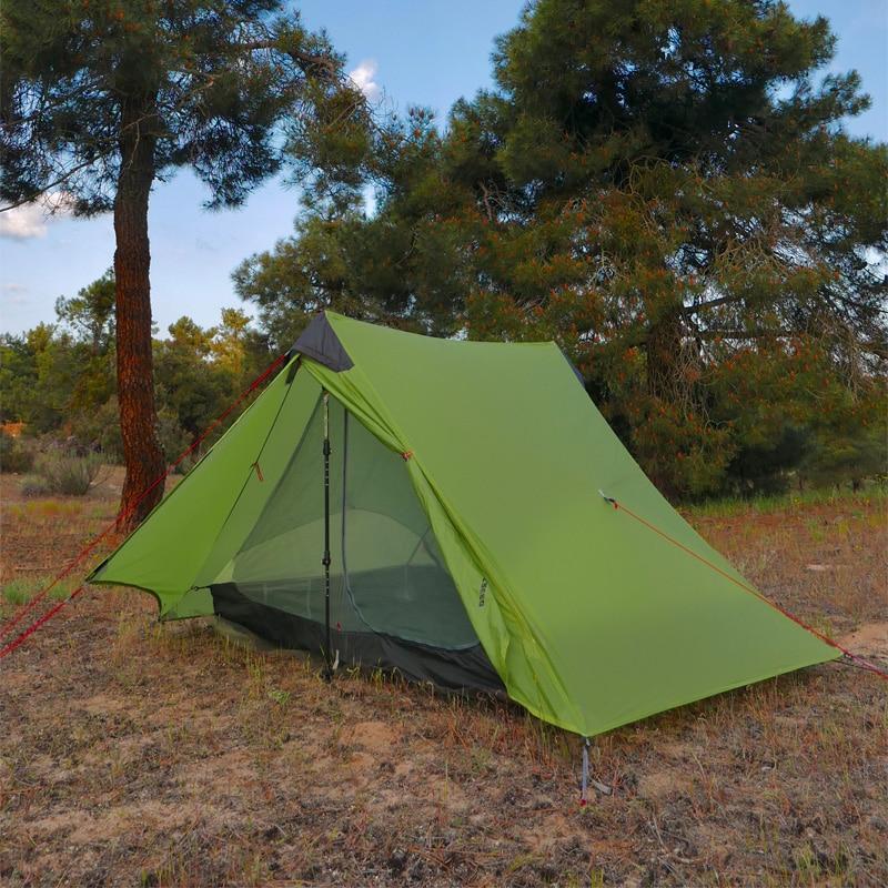FLAME'S CREED LanShan 2 1 Personne 2 Personne Oudoor Ultra-Léger Camping Tente 3/4 Saison Professionnel 15D Silnylon Sans Tige tente