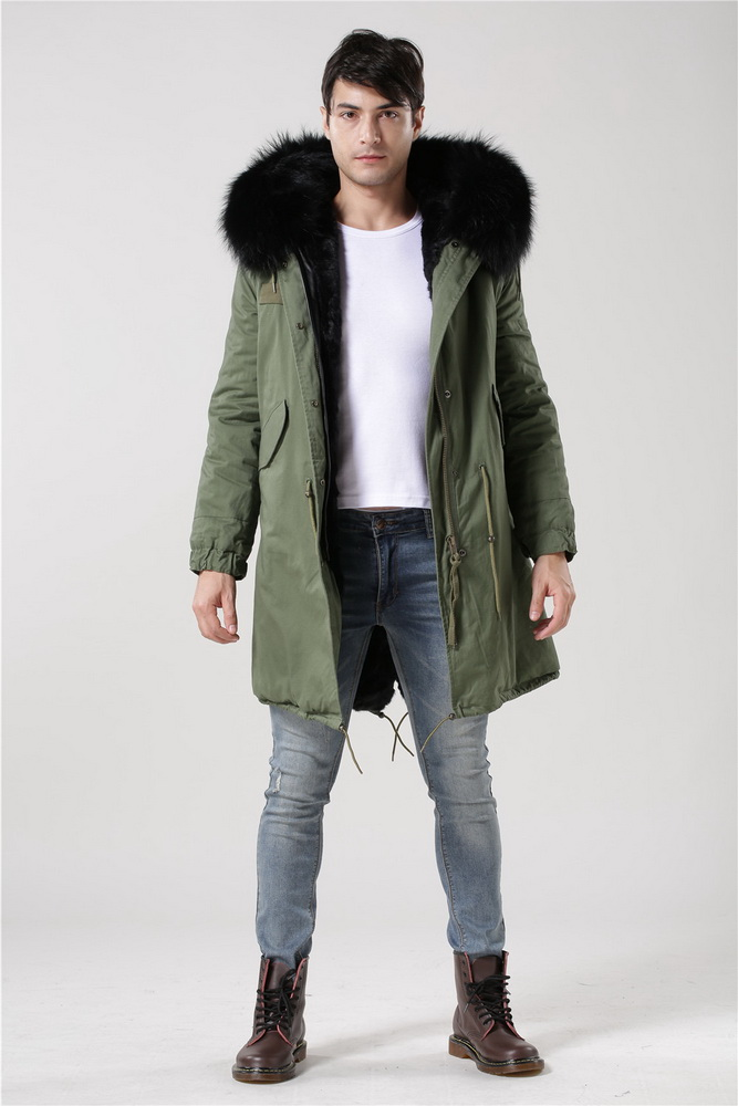 ITALY ARMY GREEN PARKA REAL FUR HOOD TRIM BLACK WINTER JACKET FIT ...