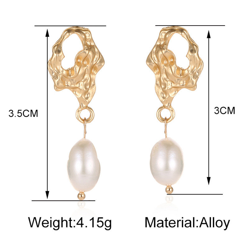 TTLIFE Fashion Design Gold Color Drop Earings With Imitation Pearls Elegant Female Hollow Geometric Jewelry For Women Gift in Drop Earrings from Jewelry Accessories