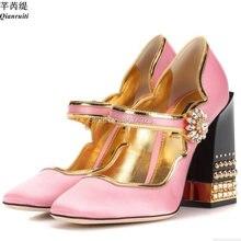 131593fc3 Qianruiti Mary Janes Bombas Dos Saltos Das Mulheres de Seda Cor De Rosa de  Ouro-aparado Bloco Tira Sapatos De Salto Alto Diamant.