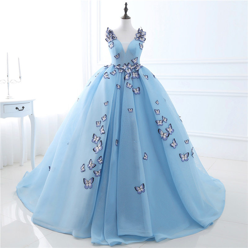 Tulle   prom     dress   sky blue V neck backless ball gown   prom     dresses   with butterfly sleeveless elegant simple women evening gowns