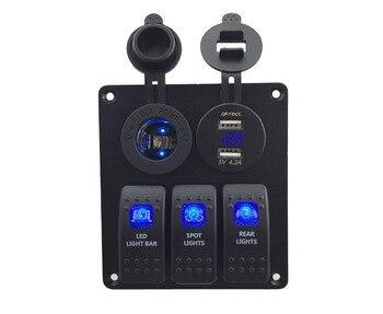 DC12V-24V blue Power socket+ Double USB 4.2A Power Outlet Charger voltmeter Socket 3 Gang   blue Rocker Switch Panel for Marine dc 12v 24v power charger socket dc 12v voltmeter 3 gang red blue green rocker switch panel for marine boat car rv vehicles