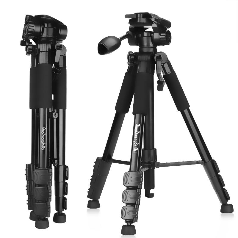 Qzsd q111 profissional portátil câmera de viagem tripé liga alumínio bola cabeça leve para canon nikon sony slr câmera