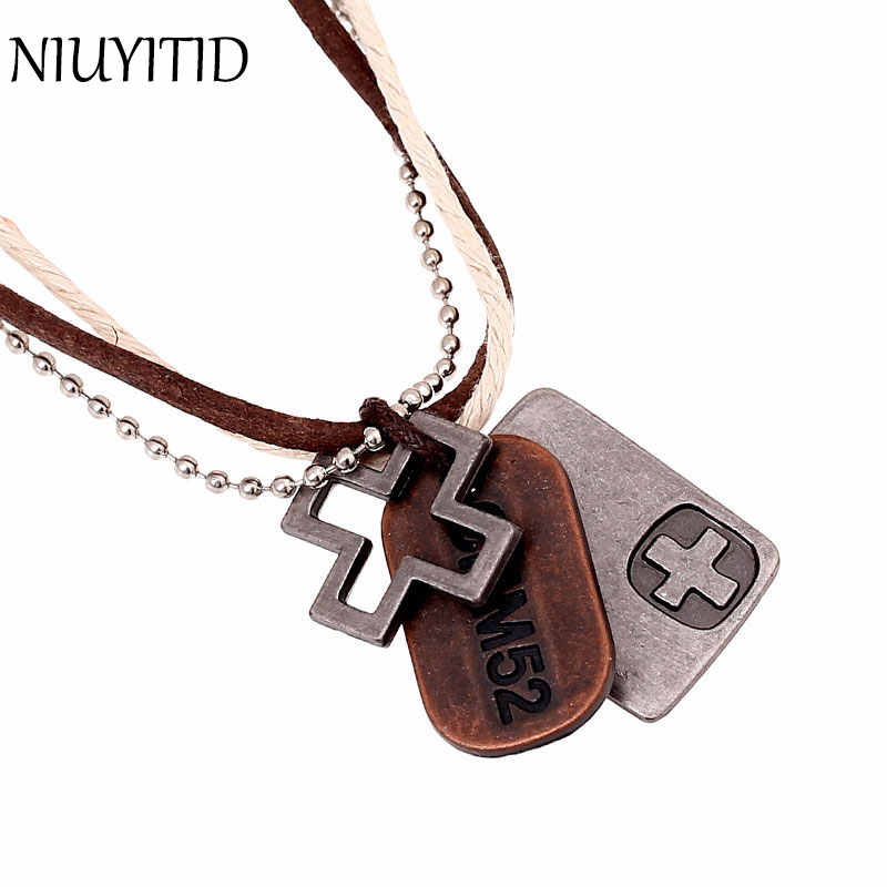 NIUYITID Male Jewelry Vintage Hemp Rope Leather Pendant Necklace Men's Colliers Colar Couro Hand Make Jewellery