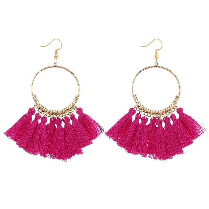 cjh006 Christmas Hoops Tassle Tassel Earrings Drop Fringe Earrings
