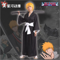Halloween BLEACH Death Cosplay Costume Shinigami Kimono Specifications Black Fitted Cosplay unisex Top + Pants+Straw shoes+sock