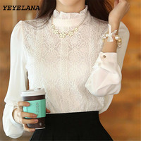 HOT SALE New 2014 Autumn Women Fashion Elegant White Crochet Lace Long Sleeve Chiffon Blouses Clothing