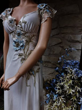 CUSTOM GREAT GATSBY Style Movie Theater Dress Beige Velvet Blue  Flower Swarovsky Beaded   Flapper  Edwardian Dress