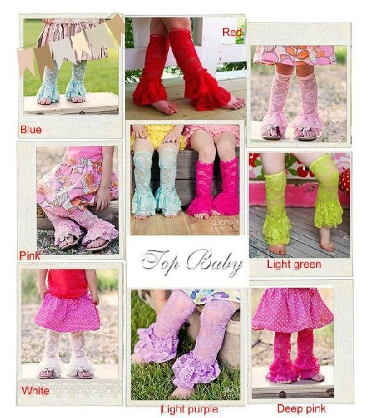 20 Pairs/lot-Baby Ruffle Bottom Stretch Girl's Lace Leggings Baby Tights for Infant - Toddler/Wrinkle Kids Leg warmers